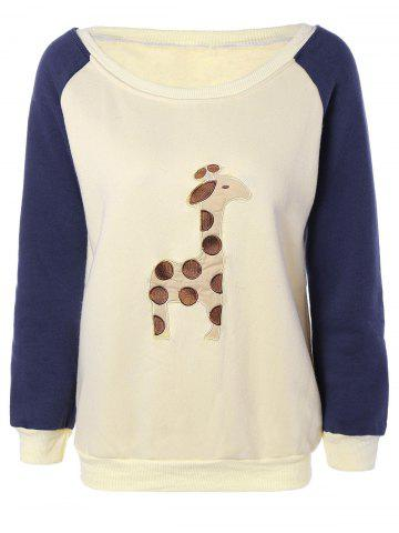 Latest Raglan Sleeves Fleece Deer Sweatshirt OFF-WHITE M