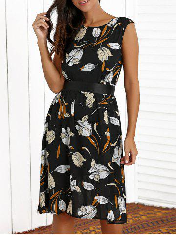 Online Floral Print Belted Flare Dress