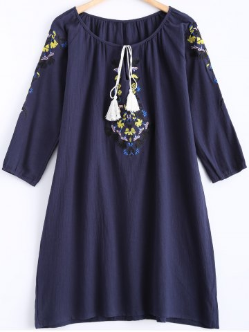 Discount 3/4 Sleeves Embroidered Tassel Dress