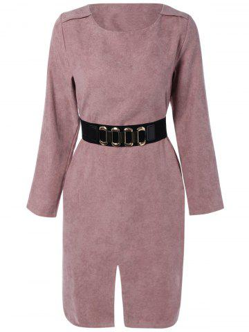 New Suede Long Sleeves Slit Belted Dress