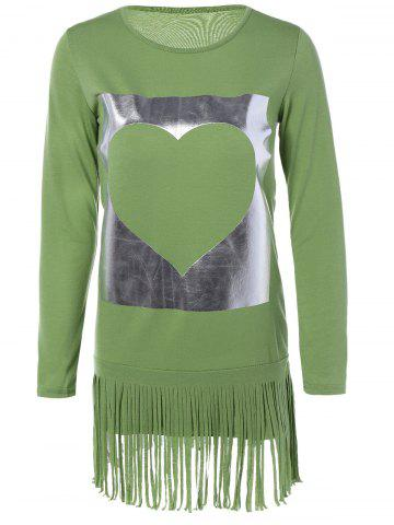 Buy Long Sleeves Heart Pattern Fringed Shift Dress