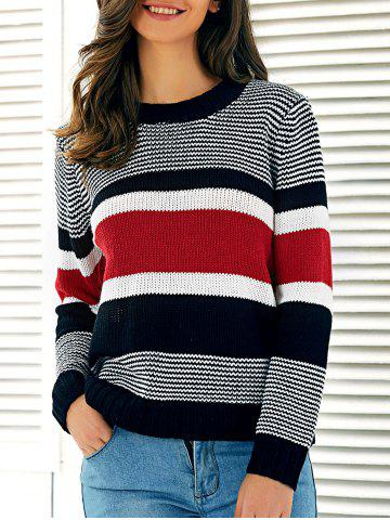 Affordable Striped Pullover Stretchy Sweater