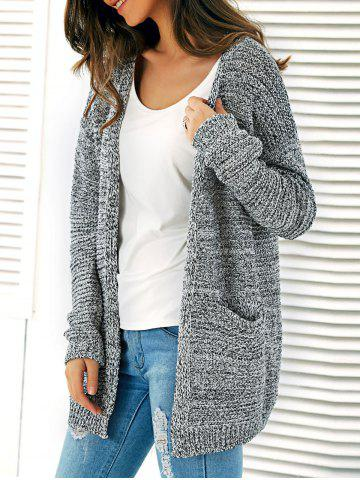 New Knitted Open Front Cardigan With Pockets GRAY ONE SIZE