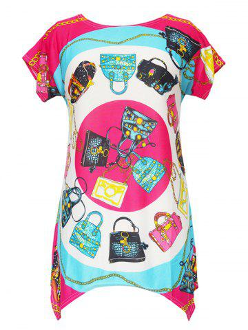 Outfits Asymmetrical Colorful Print Blouse