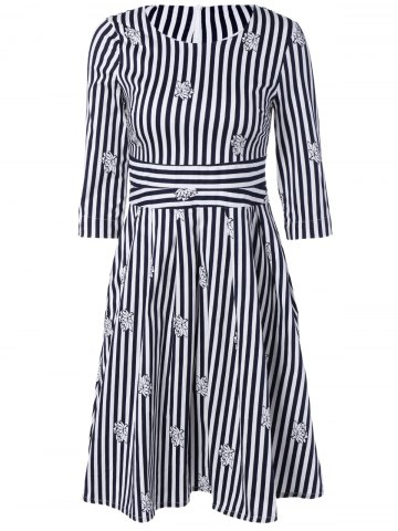 Discount 3/4 Sleeves Striped Floral Print Dress