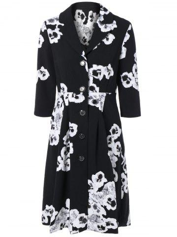 Unique 3/4 Sleeves Floral Print Flare Coat
