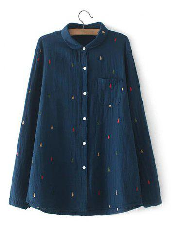 Chic Plus Size Chest Pocket Embroidered Shirt CADETBLUE 3XL
