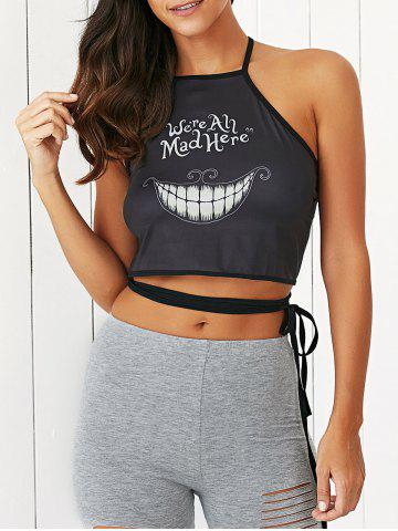 Outfits Halloween Letter Pattern Backless Criss Cross Tank Top