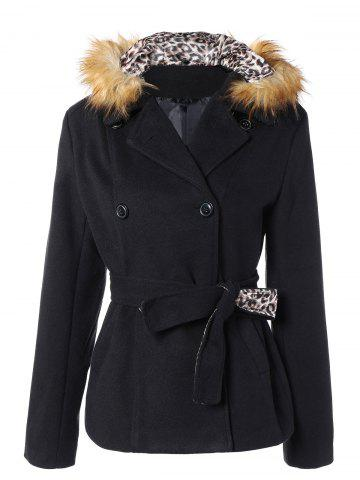 Fancy Take Off Faux Fur Hooded Double Breasted Slim Fitted  Coat BLACK 2XL