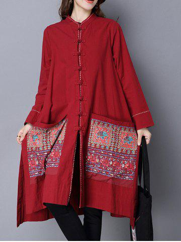 Outfits Chinese Style Pocket Button Up Long Coat