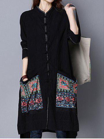Cheap Chinese Style Pocket Button Up Long Coat