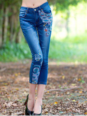 Discount Ethnic Style Embroidered Frayed Skinny Jeans