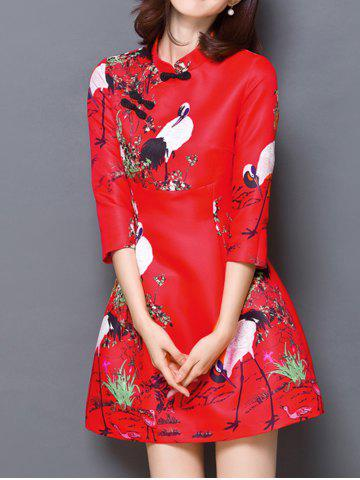 Store Chinese Style Carne Bird Print Mandarin Collar Dress