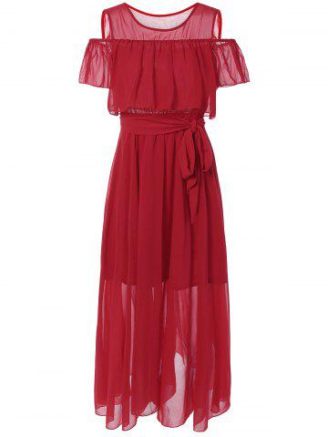 Buy Cold Shoulder Overlay Flounce Chiffon Prom Dress RED XL