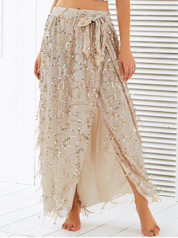 Outfit High Waist Mesh Sequined Wrap Skirt