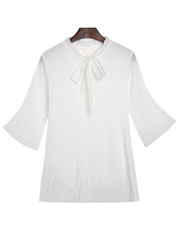Online Bow Neck Bell Sleeve Pleated Blouse WHITE 2XL