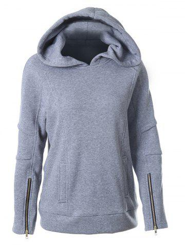 Shops Zipper Design Hooded Long Sleeve Hoodie GRAY XL