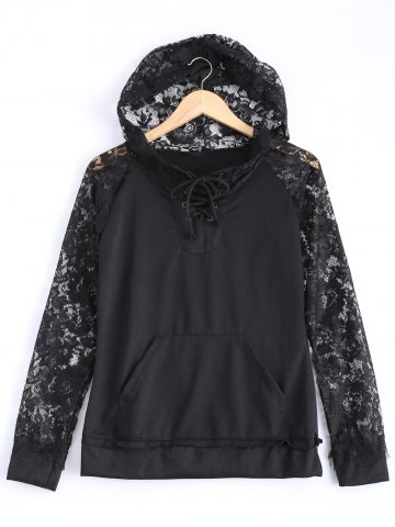 Discount Hooded Lace Splicing Hoodie