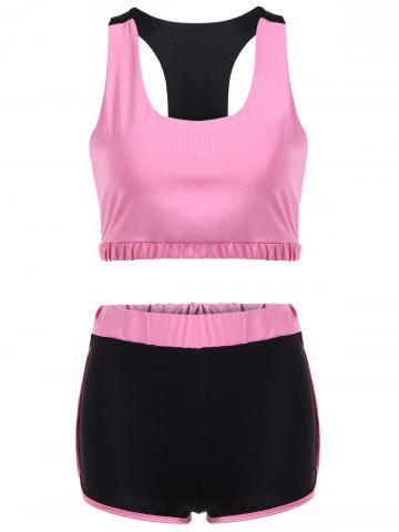 Chic Racerback U Neck Sporty Bra and Shorts Twinset PINK XL