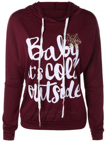 Sale Christmas Snowflake Letter Print Hoodie - WINE RED L Mobile