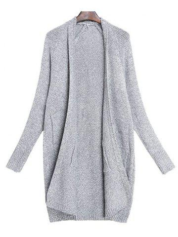 Chic Bat Sleeve Cardigan GRAY ONE SIZE