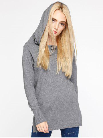 Latest Furcal Hooded Knitwear GRAY ONE SIZE