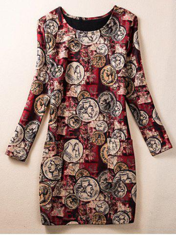 Outfits Skinny Coin Pattern Dress