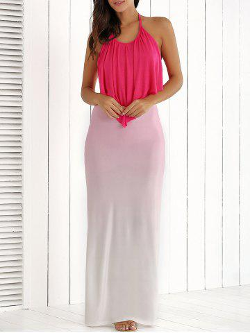 Chic Halter Ruched Ombre Backless Dress