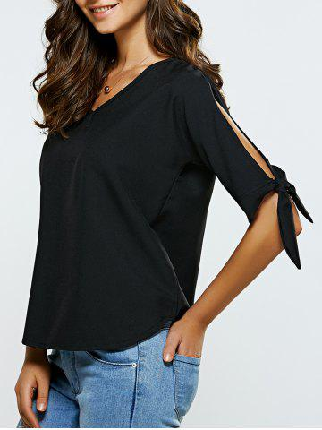 Affordable V-Neck Cut Out Self-Tie T-Shirt