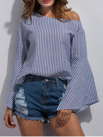Online Bell Sleeve Striped Blouse