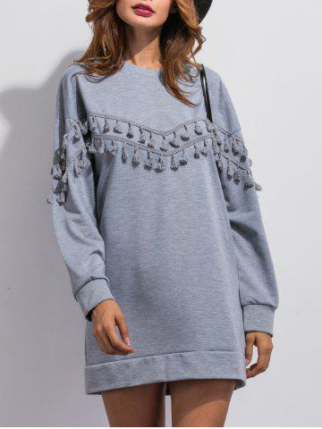 Discount Tassel Long Sleeve Sweatshirt Dress GRAY XL