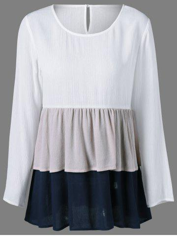 Outfits Color Block Layered Blouse WHITE L