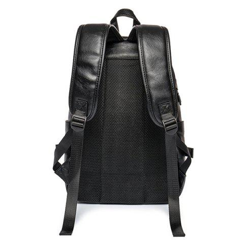 Shop Zip Metallic Stitching Leather Backpack - BLACK  Mobile
