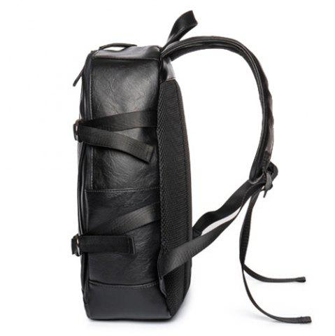 Trendy Zip Metallic Stitching Leather Backpack - BLACK  Mobile