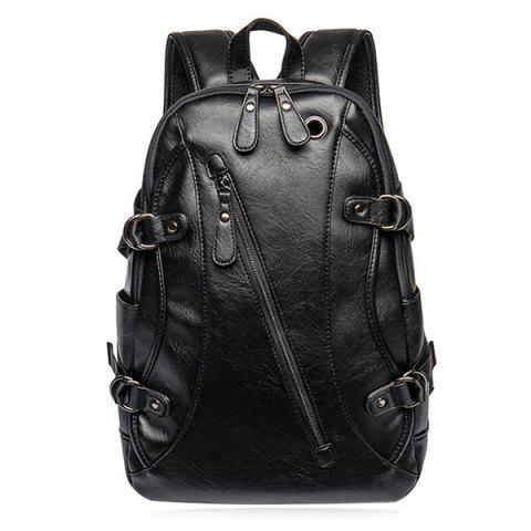 Discount Zip Metallic Stitching Leather Backpack - BLACK  Mobile