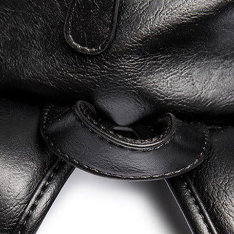 Chic Zip Metallic Stitching Leather Backpack - BLACK  Mobile