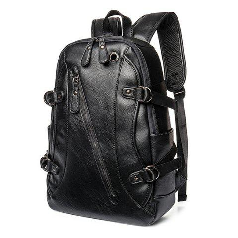 New Zip Metallic Stitching Leather Backpack - BLACK  Mobile