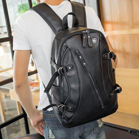 Outfits Zip Metallic Stitching Leather Backpack - BLACK  Mobile