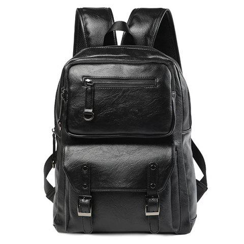 Zip Stitching Buckle Strap Backpack Noir