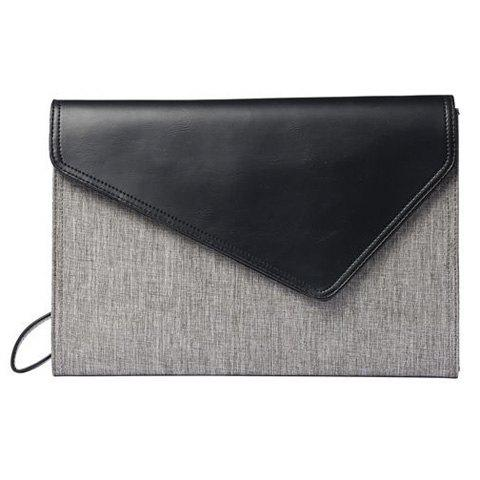 Discount Colour Block Covered Closure PU Leather Clutch Bag