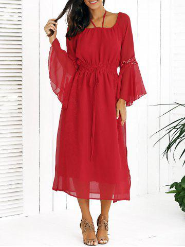 Fashion Drawstring Bell Sleeves Lace Spliced Chiffon Dress RED XL
