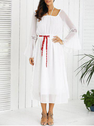 Hot Drawstring Bell Sleeves Lace Spliced Chiffon Dress WHITE M