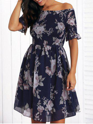 Sale Off The Shoulder Ruffled Flowers Print Chiffon Dress