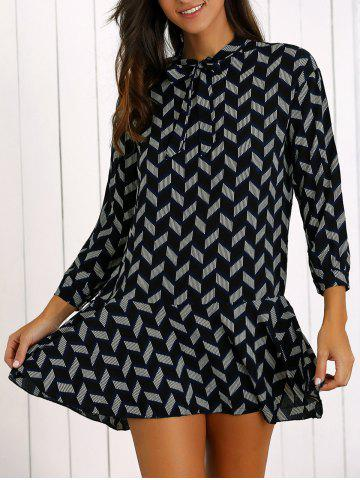 New Printed Bowknot Tie Flounce Hem Mini Dress