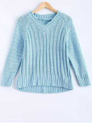 Store V-Neck Raglan Sleeve Ribbed Sweater