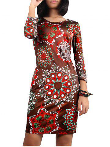 Christmas 3/4 Sleeve Printed Dress - BROWN XL