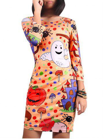 Halloween Printed Skinny Dress - Colormix - M