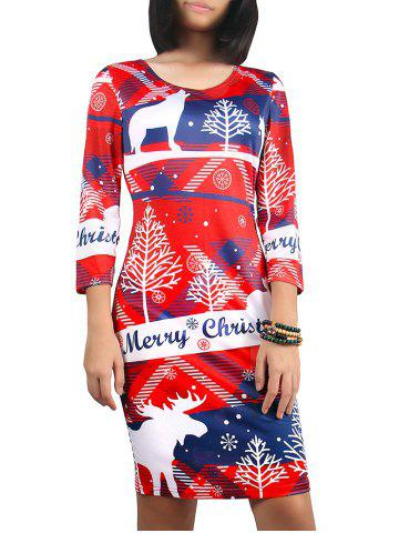 Hot Christmas 3/4 Sleeve Snowflake Print Dress RED XL