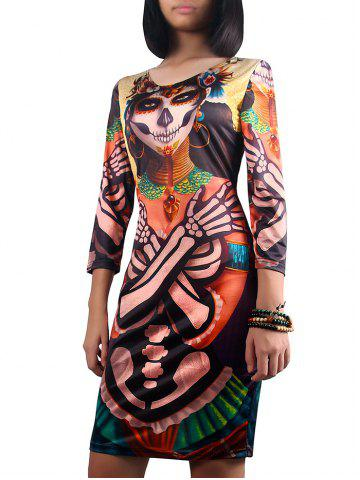 Halloween 3/4 Sleeve Ghost Print Dress - Colormix - S