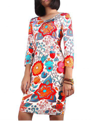Discount Christmas 3/4 Sleeve Ornate Print Dress COLORMIX XL